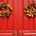 Wreaths on the front doors